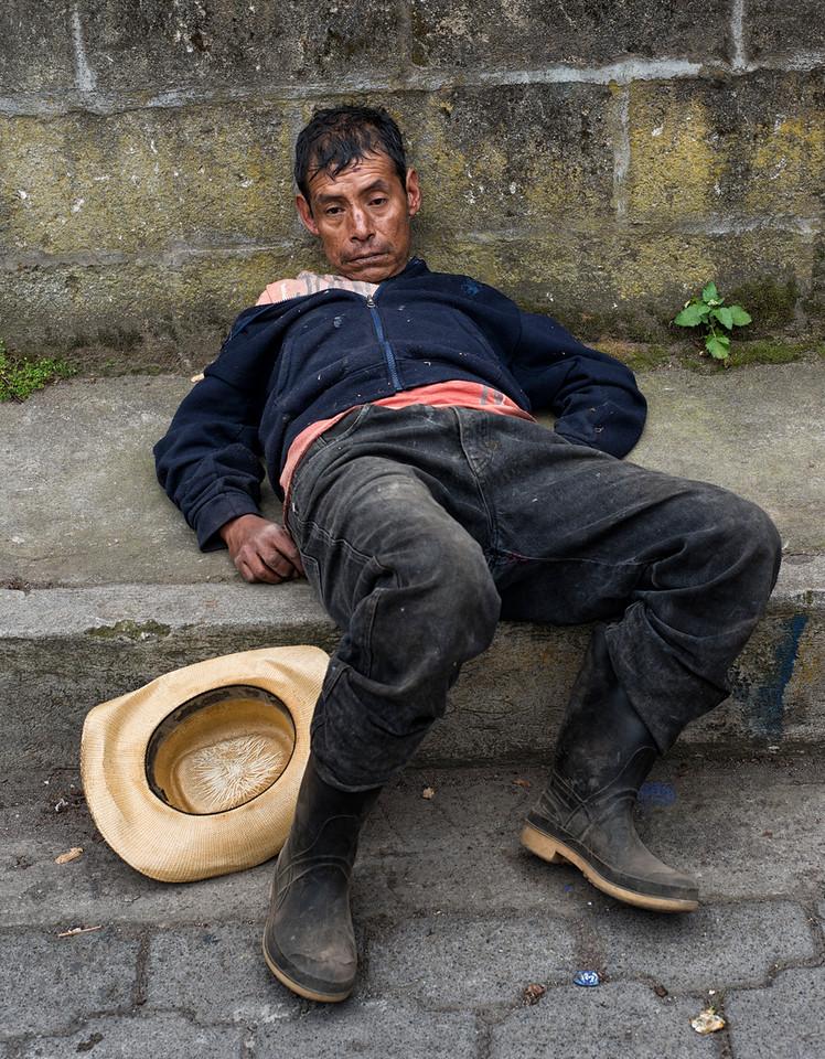 Drunk man.<br /> <br /> San Antonio Palopo, Lago Atitlan, Guatemala, 2014.