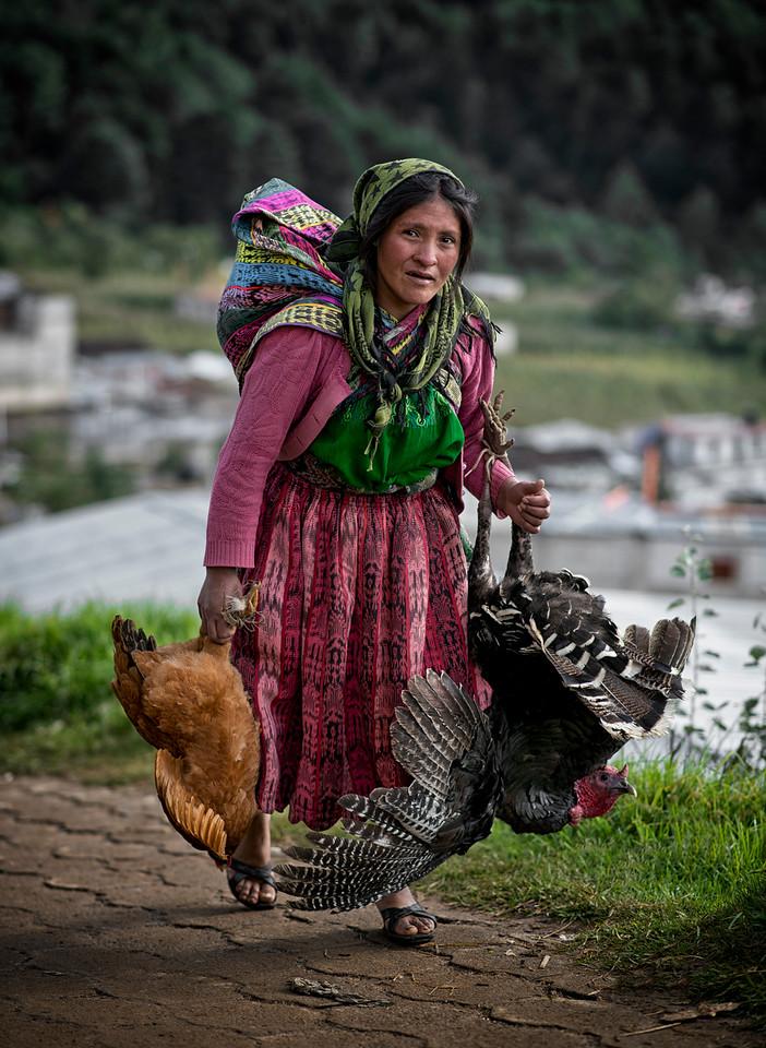A woman takes her birds to the animal market. <br /> <br /> San Francisco El Alto, Guatemala, 2014.