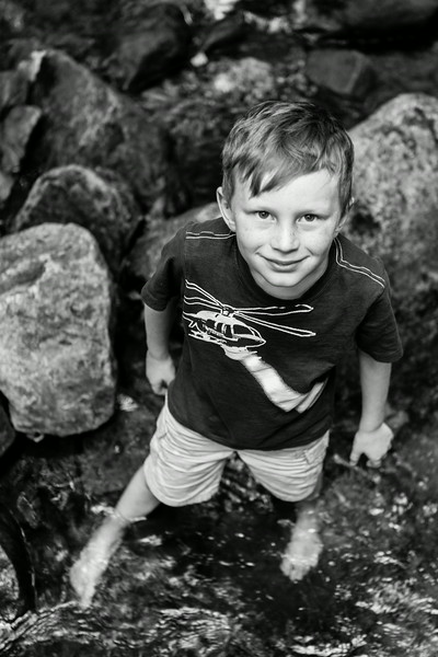 B&W of Kyle walking up the creek. Digital, Trout Pond Recreation Area, West Virginia, Jun 2014.