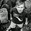 B&W of Kyle walking up the creek. Digital, Trout Pond Recreation Area, West Virginia, Jun 2014.