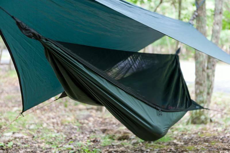 Pic of Kyle sleeping in his hammock. Digital, Trout Pond Recreation Area, West Virginia, Jun 2014.