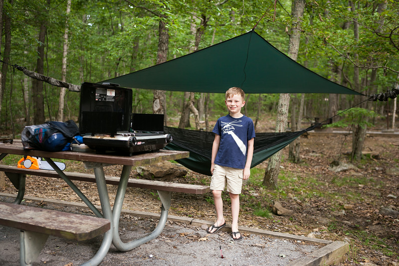 Kyle in front of his new cub size hammock. Digital, Trout Pond Recreation Area, West Virginia, Jun 2014.