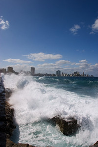 Crashing waves against Malecon Drive, Havana, Cuba.