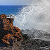 Water breaking on the lava rocks in Kauai, #0103