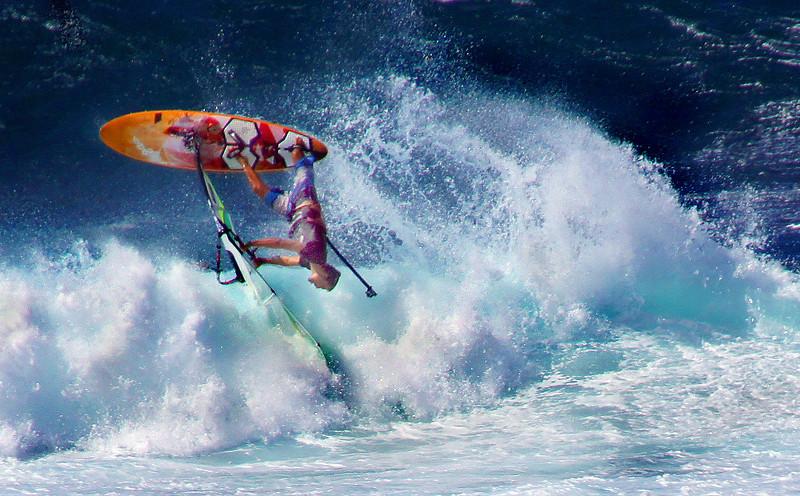 Windsurfing at Hookipa Beach, Maui, Hawaii, #0094