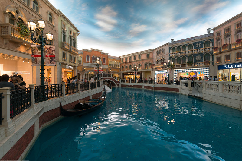 The Venetian Macao, Macau, Cotai, S.A.R., China. Set on Macau's Cotai Strip, this Vegas-style, Venice-themed palatial resort and casino lies 3 km from Taipa island and 8 km from Macau Tower Convention & Entertainment Centre. Classic Italian-style suites include sunken living room areas and marble bathrooms. Amenities also include live performances, entertainment and gondola rides on the resort's indoor canals.