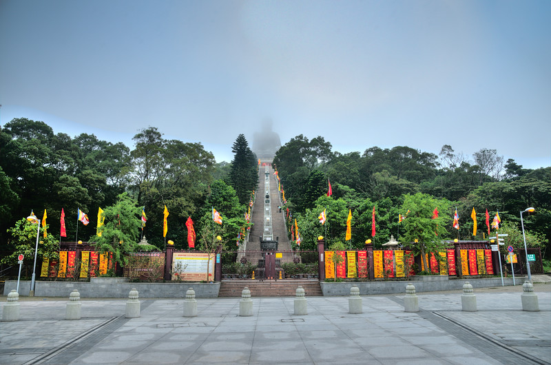 Tian Tan Buddha, Ngong Ping Big Buddha, Ngong Ping Rd, Lantau Island, Hong Kong. 260 steps lead up to this immense Buddha made of bronze, with carved bell, museum and relics inside.