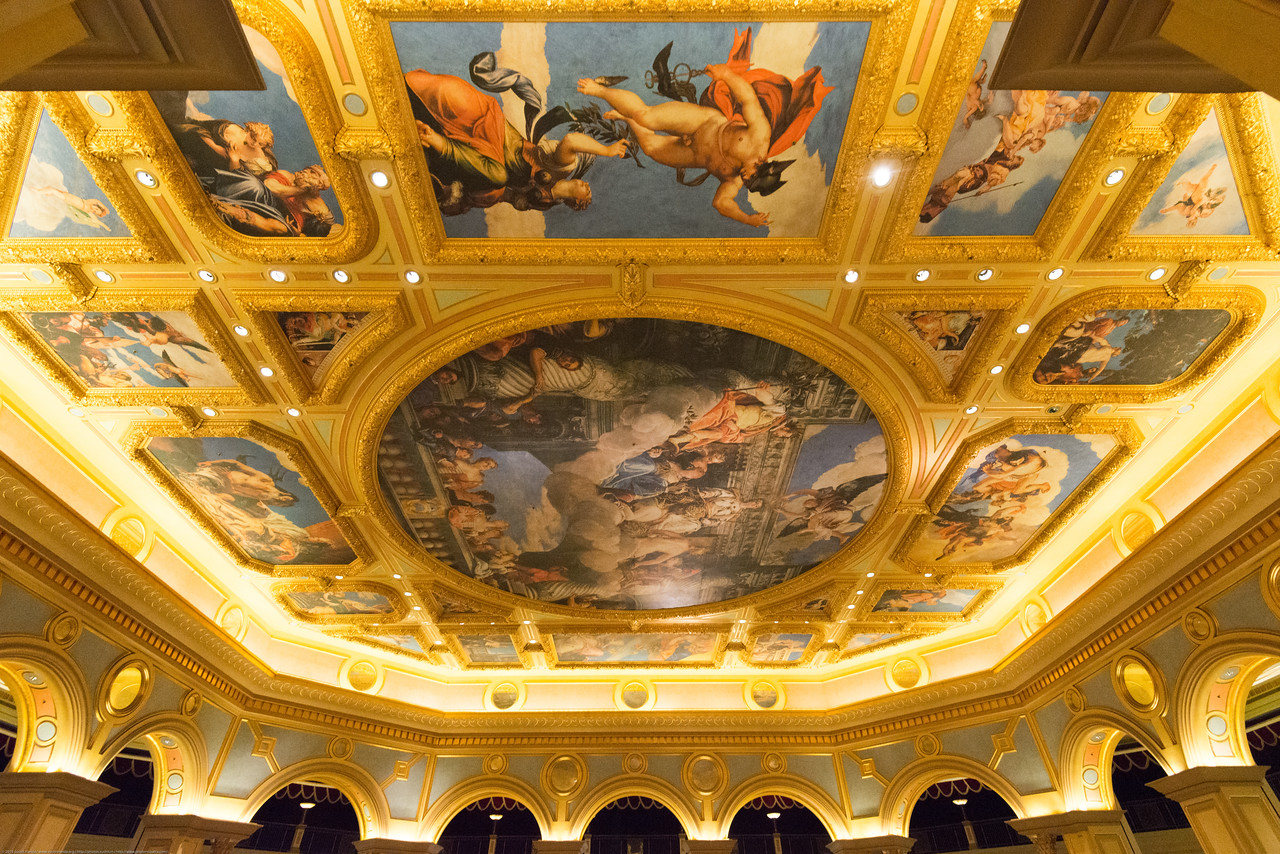 Inside the Hotel and just outside the Casino at The Venetian Macao, Macau, Cotai, S.A.R., China. Set on Macau's Cotai Strip, this Vegas-style, Venice-themed palatial resort and casino lies 3 km from Taipa island and 8 km from Macau Tower Convention & Entertainment Centre. Classic Italian-style suites include sunken living room areas and marble bathrooms. Amenities also include live performances, entertainment and gondola rides on the resort's indoor canals.