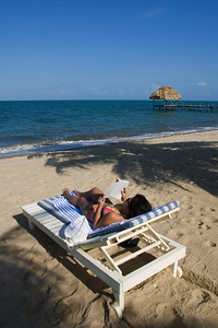 Sunbathing and relaxing on the beach in Hopkins, Stann Creek, Belize.