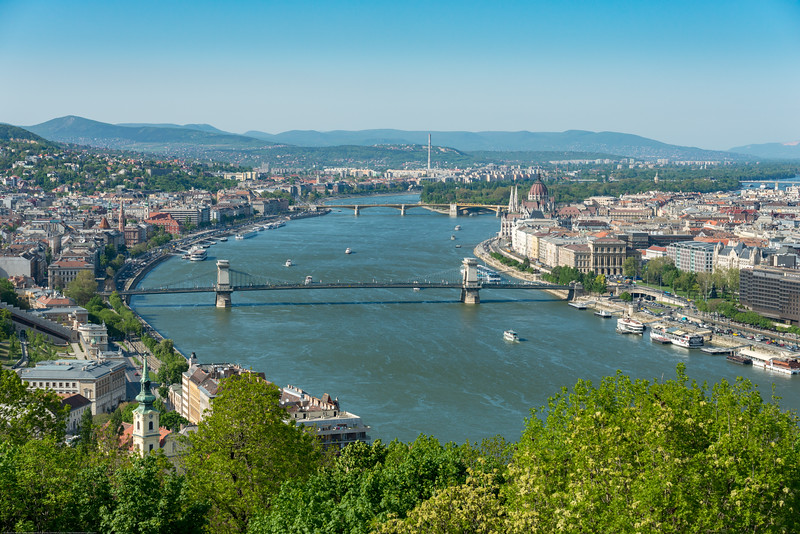 View of city of Budapest Hungary, from Citadella, Hapsburg Fortress. Built after the suppression of the Hungarian Revolution in 1848, this fort is a symbol of the city.