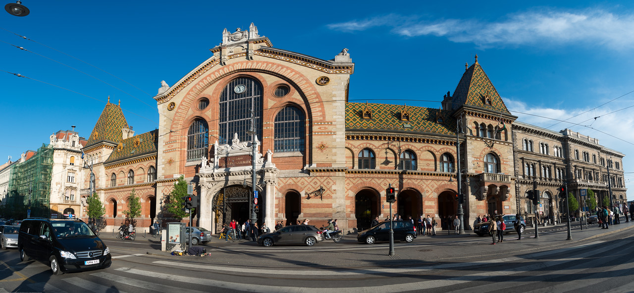 Panoramic view of neogothic market hall -Mercado Central (Central Market Hall), Budapest, Vámház körút, Hungary.