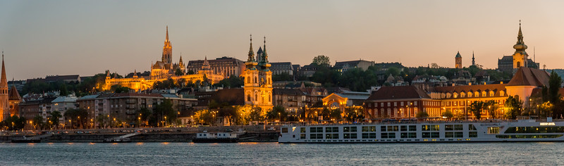 Panoramic night view of Budapest, Hungary from the river cruise.