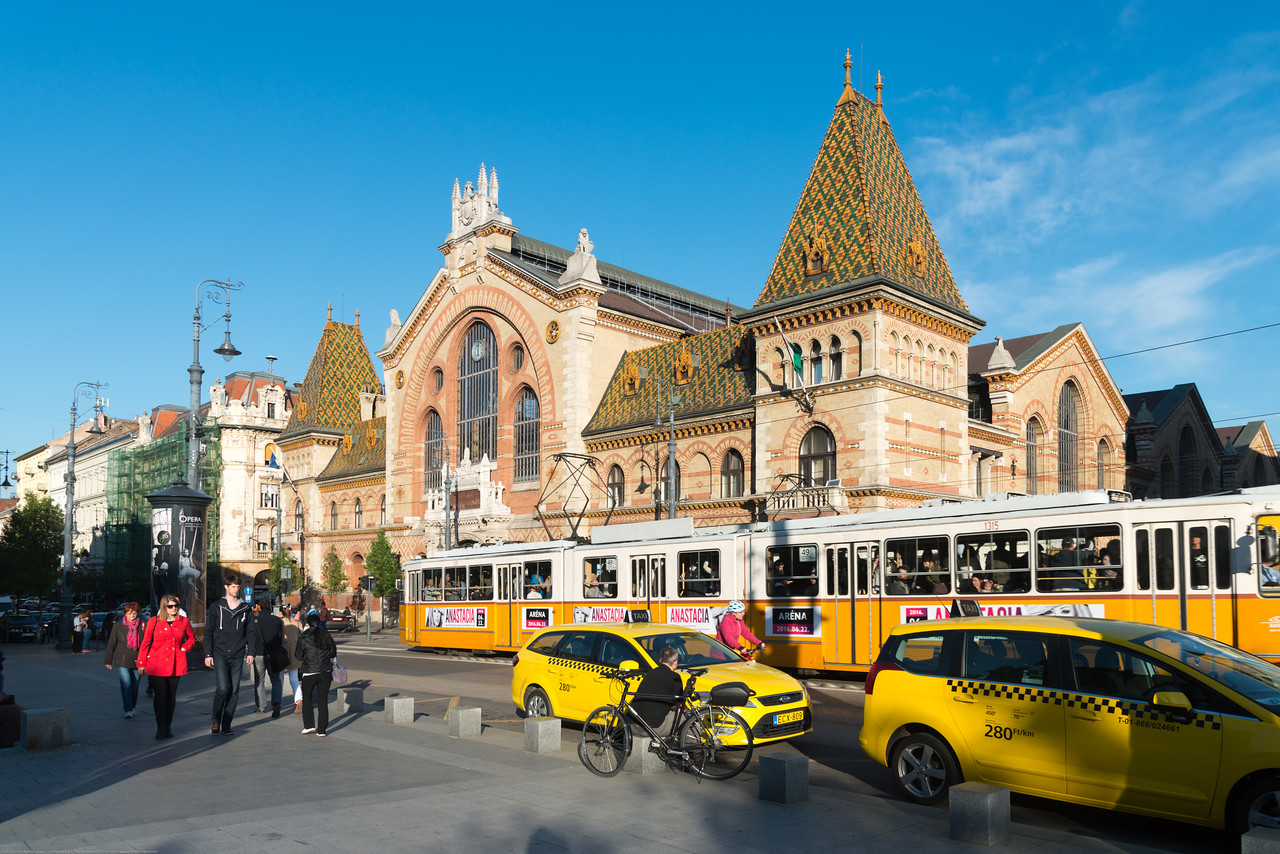Mercado Central (Central Market Hall), Budapest, Vámház körút, Hungary. The metal roof structure is still the original, and the roof is covered with decorative Zsolnay tiles. There are four other markets like this in Budapest, which were all built in the same style (these are in Klauzál tér, Rákóczi tér, Hold utca and Hunyadi tér).