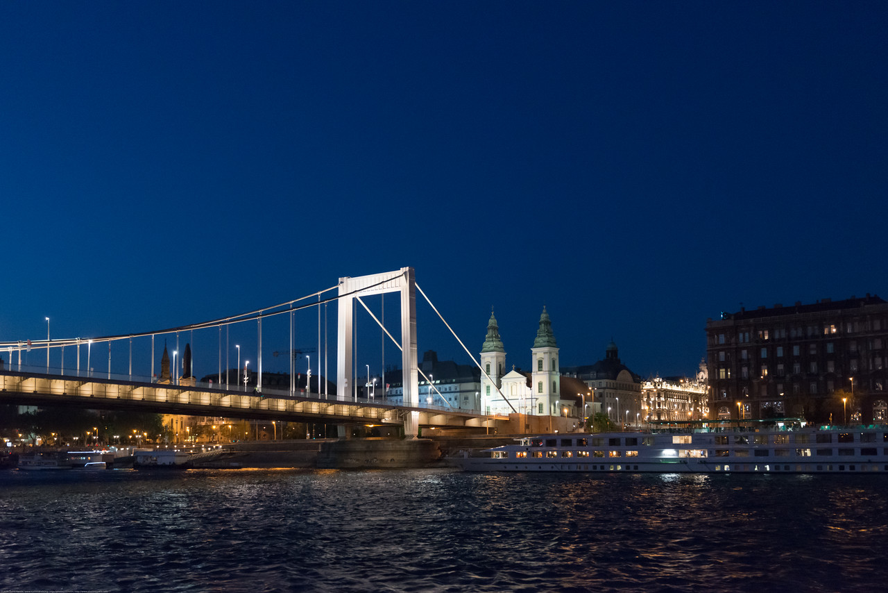Night view of Budapest, Hungary from the river cruise.