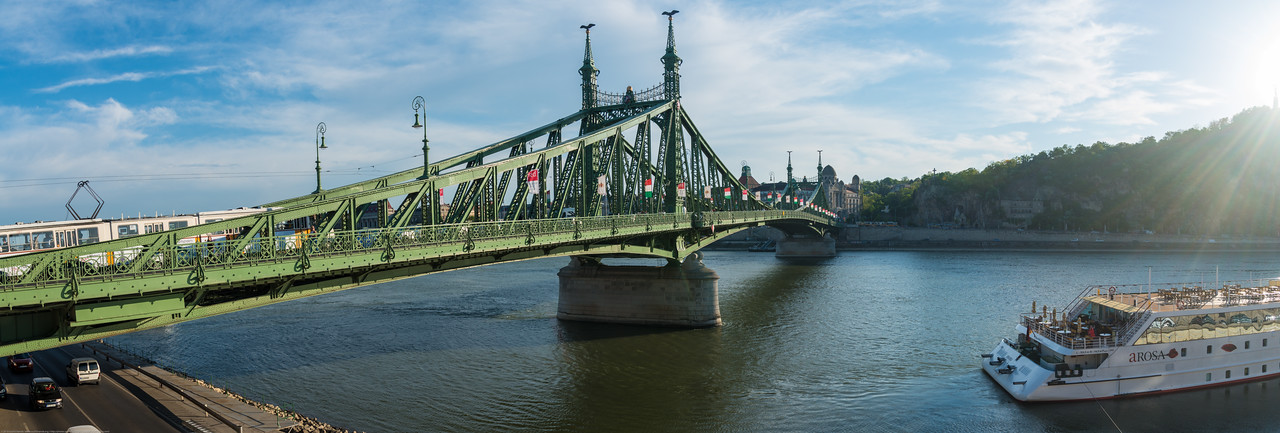 Panoramic view of Ponte da Liberdade, over river Danube, Budapest, Hungary.