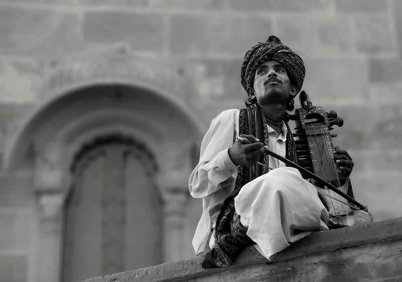 Musician playing in a Rajasthani Fort.<br /> <br /> Rajasthan,India,2011