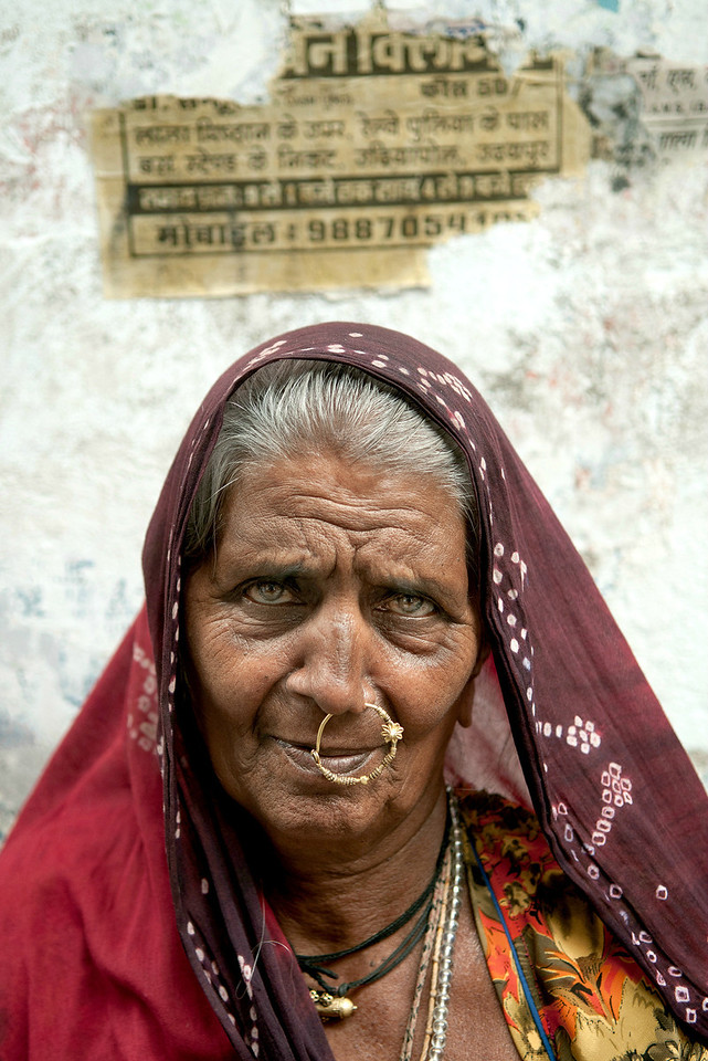 Portrait of a woman in Udaipur.<br /> <br /> Rajasthan, India, 2011.