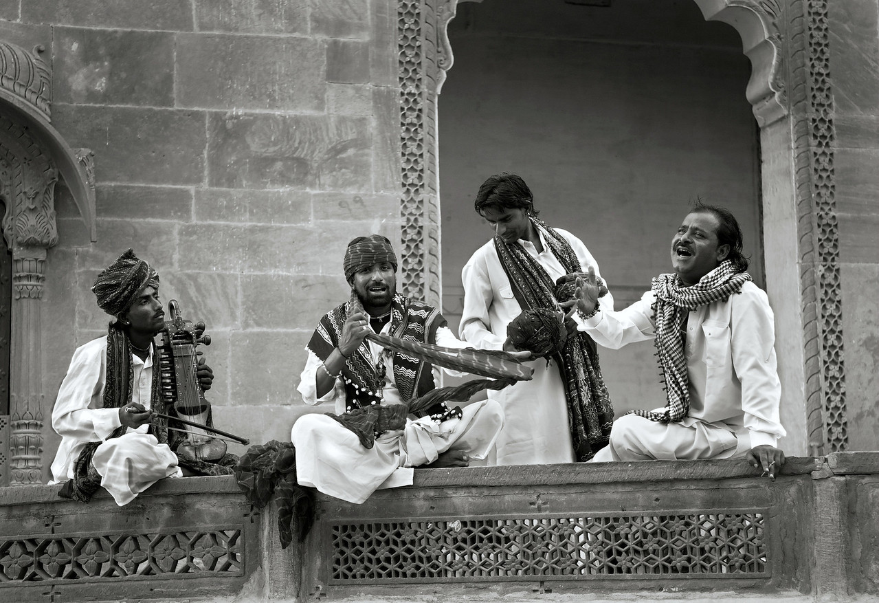 Rajasthan has a diverse collection of musician castes, including langas, sapera, bhopa, jogi and Manganiar. There are two traditional classes of musicians: the Langas, who stuck mostly exclusively to Muslim audiences and styles, and the Manganiars, who had a more liberal approach.<br /> <br /> Johdpur, Rajasthan, India, 2011.