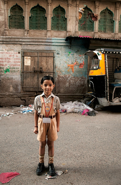 School boy in uniform. <br /> <br /> Johdpur, Rajasthan, India, 2011.