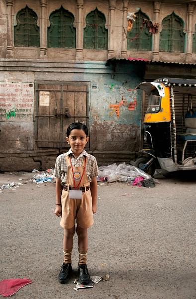 School boy in uniform.   Johdpur, Rajasthan, India, 2011.