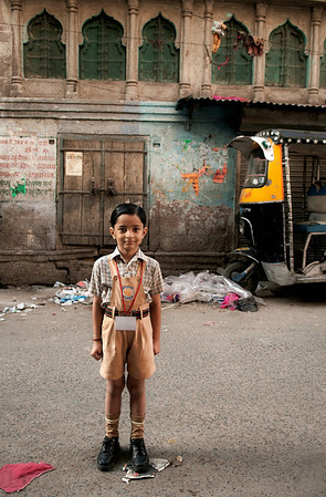 School boy in uniform.   Johdpur, Rajasthan, India, 2011.