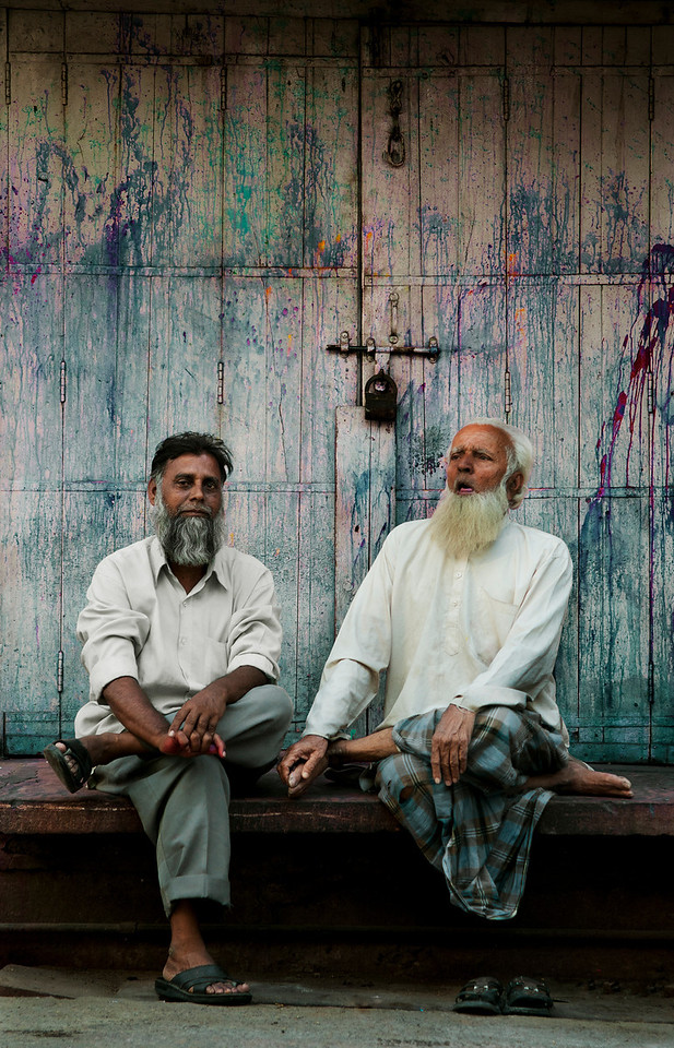 Two men talking in a street in Jodhpur, <br /> <br /> Rajasthan, India, 2011.