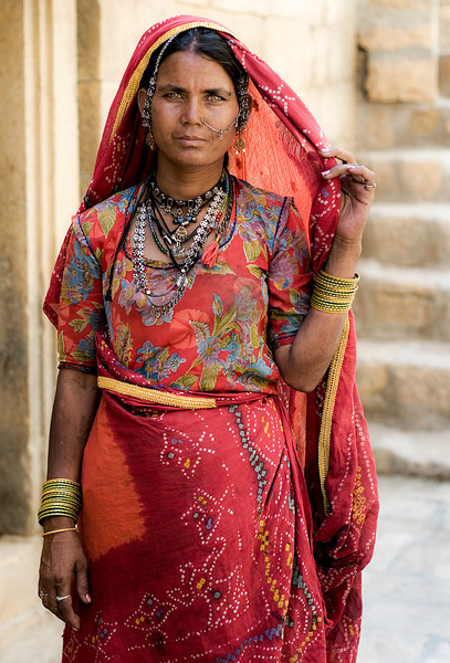 Portrait of a woman in the desert town of Jaisalmer.<br /> <br /> Rajasthan, India, 2011.