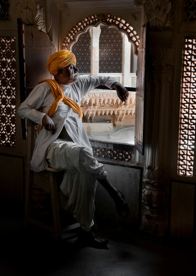 Security guard in the Mehrangarh Fort.<br /> <br /> Jodhpur, Rajasthan, India, 2011.