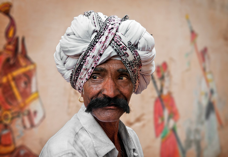 Man with turban.<br /> <br /> Bundi,Rajasthan,2011.