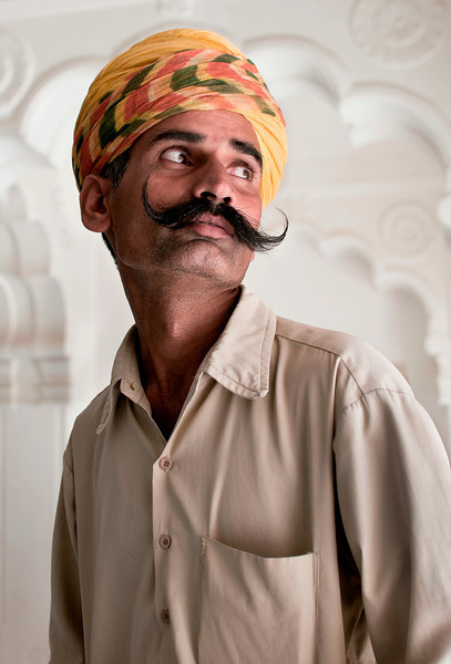 Man sporting a traditional moustache.<br /> <br /> Jodhpur, Rajasthan, India, 2011.
