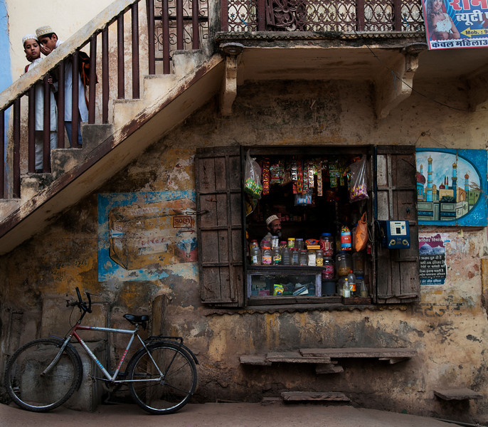 Muslim shop owner in the small town of Bundi, <br /> <br /> Rajasthan, India, 2011.