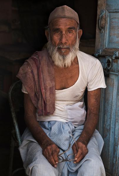Portrait of a Muslim shop owner Bundi.<br /> <br /> Rajasthan, India, 2011.