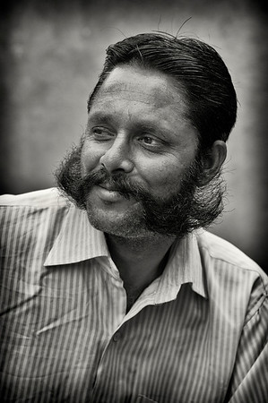 Man sporting a traditional moustache.  Jodhpur, Rajasthan, India, 2011.