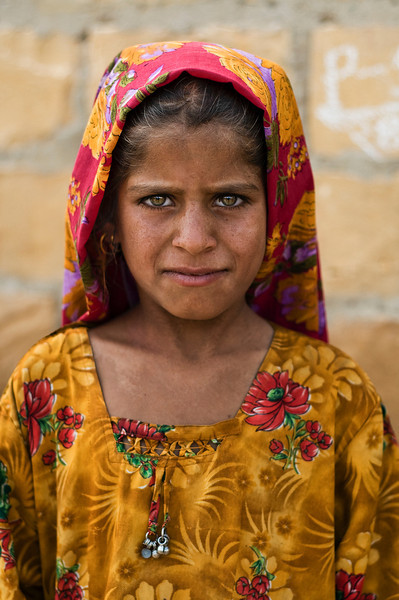 Young Muslim girl in a small village in the Thar desert west of Jaisalmer.<br /> <br /> India 2011.