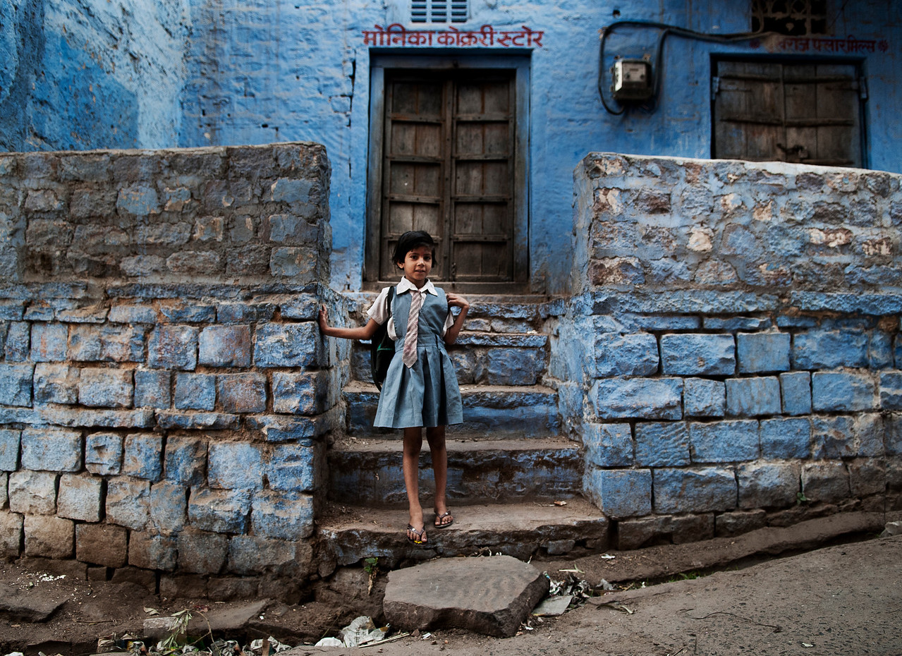 Small girl on her way to school.<br /> <br /> Bundi, Rajasthan, India, 2011.