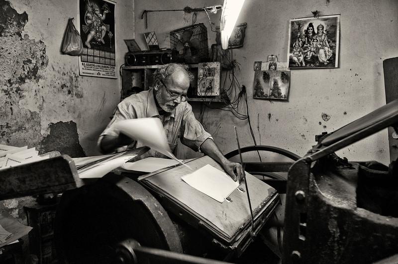 Man printing.<br /> <br /> <br /> Udaipur,Rajasthan, India, 2011.