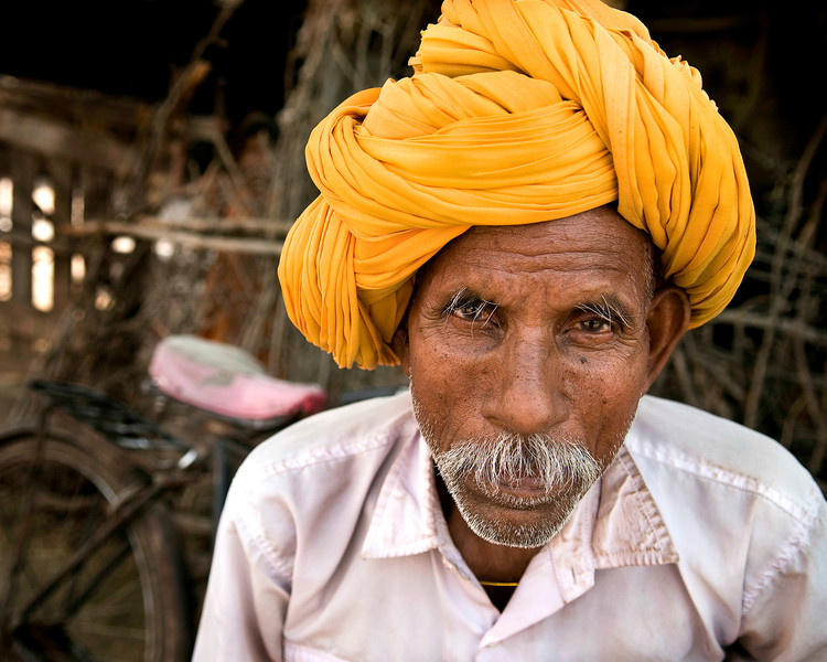 Portrait of a Rajasthani man.<br /> <br /> Village outside of Bundi, 2011.