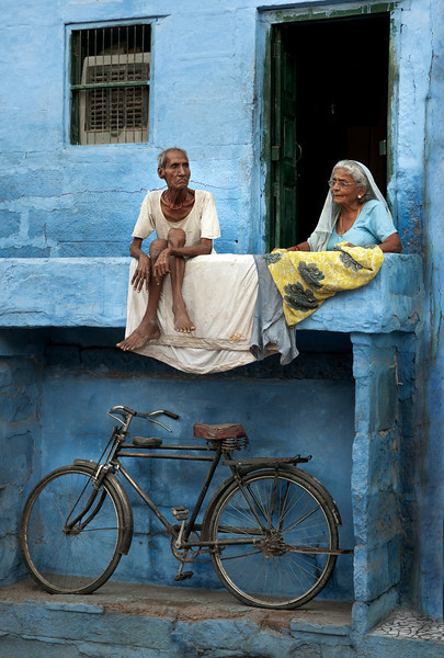 Street scene in the blue city of jodhpur.<br /> <br /> Rajasthan, India, 2011.
