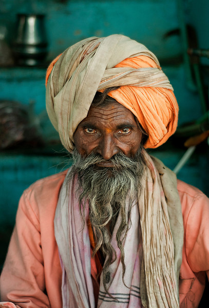 Portrait of a Sadhu.<br /> <br /> Udaipur, Rajashtan, India, 2011.