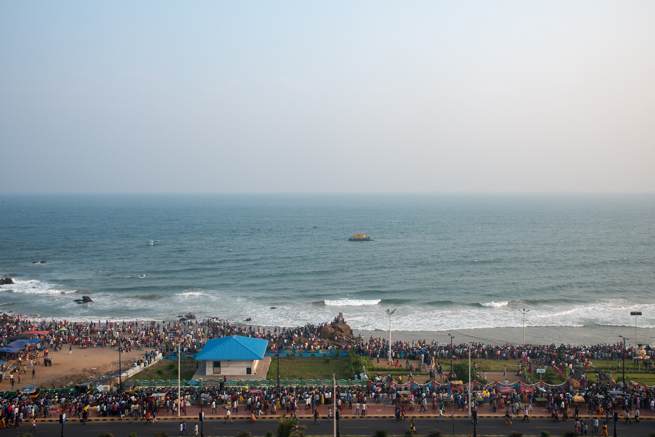 Preparations by the Eastern Naval Command, Visakhapatnam to celebrate the Navy Day on December 4, marking the day Indian Navy Missile Boats carried out a deadly attack on Karachi Harbour in the 1971 Indo-Pak war. RK Beach, Visakhapatnam (Vizag), Andhra Pradesh, India.