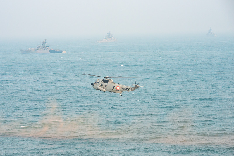 The Eastern Naval Command, Visakhapatnam celebrated the Navy Day on December 4, marking the day Indian Navy Missile Boats carried out a deadly attack on Karachi Harbour in the 1971 Indo-Pak war.<br /> <br /> Public could view from RK Beach, the manoeuvres by Destroyers, Corvettes, fast attack craft and Landing Ships, beach assault by Marine Commandos, Sky Diving, close range anti-aircraft firing, band performance, formation anchoring, and a host of other exercises. A total of 17 ships, 13 aircraft, and a submarine took part in the grand display and demonstration.  Visakhapatnam (Vizag), Andhra Pradesh, India.