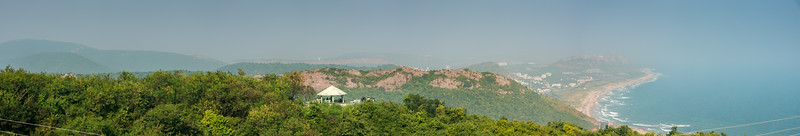 Panoramic view from Titanic View Point, Kailasagiri (కైలాసగిరి). Seen is <br /> Radhika View Point (రాధిక వ్యూ పాయింట్).<br /> Kailasagiri is a hilltop park & garden well known for a huge Shiva statue (Kailash) & picturesque views of forest & sea. Visakhapatnam (Vizag), Andhra Pradesh, India.