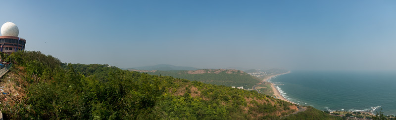 Panoramic view from Titanic View Point, Kailasagiri (కైలాసగిరి). Kailasagiri is a hilltop park & garden well known for a huge Shiva statue (Kailash) & picturesque views of forest & sea. Visakhapatnam (Vizag), Andhra Pradesh, India.