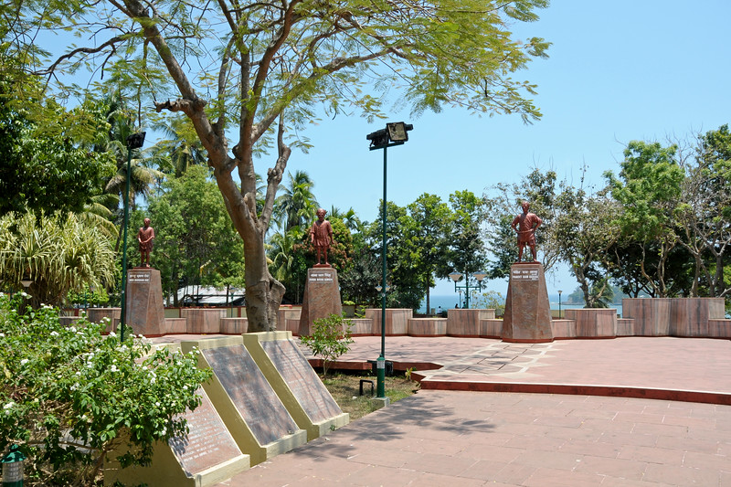 Busts of freedom fighters such as Indu Bhushan Roy, Baba Bhan Singh, Pandit Ram Rakha etc. opposite Central Jail, Port Blair, A&N. Andaman & Nicobar Islands. India.