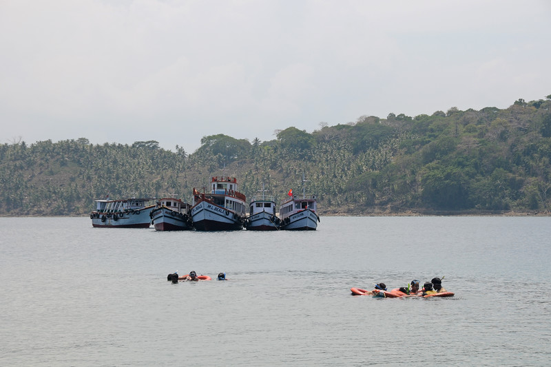 Snorkling in the sea water at Jolly Buoy from Port Blair, A&N, Andaman & Nicobar, Islands, India