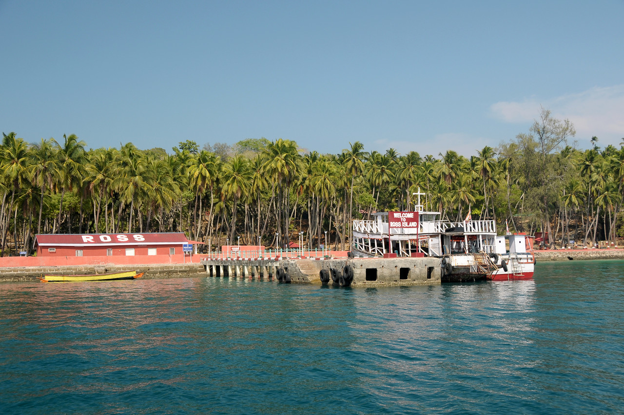 Boat ride to Ross Islands from jetty at Port Blair, A&N, Andaman & Nicboar Islands of India.