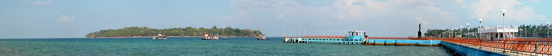 Panoramic view of jetty at Port Blair, A&N, Andaman & Nicobar Islands, India.