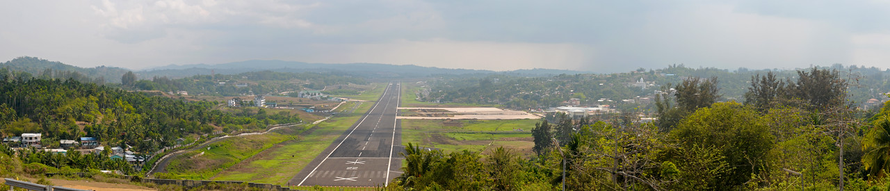 Panoramic view of airport at Port Blair, A&N, Andaman & Nicobar Islands, India.