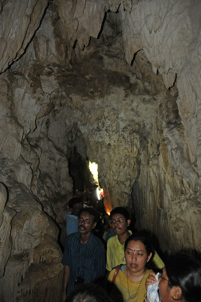Narrow passage with visitors to Natural Lime Stone Cave at Baratang, A&N, Andaman & Nicobar Islands, India.