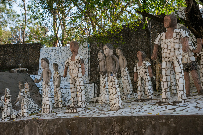 The Rock Garden of Chandigarh (also known as Nek Chand's Rock Garden after its founder) is a sculpture garden in Chandigarh, India. Nek Chand was a government official who started the garden secretly in his spare time in 1957. Today it is spread over an area of 40 acres and is completely built of industrial and home waste and thrown-away items. The Rock Garden, is one of the most famous sites in India. Nek Chand, the creator of this place, died in 2015 but his site is visited by millions of people every year.